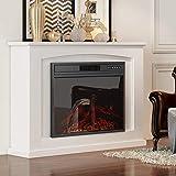 2000W diseño moderno Chimenea eléctrica Suite 2 Calor ajustes del termostato Pantalla LCD con temporizador de cuenta regresiva de control remoto - Crema blanca del MDF Surround dsnmm