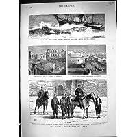 Una Stampa Antica dell'Esercito Francese Tunisi Kasba della Lancia di