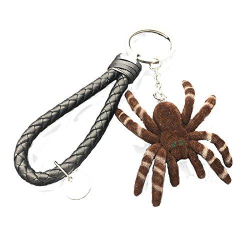 KnSam Leder Schlüsselanhänger Spinne Haustier Fahrzeugschlüssel für Herren und Damen Braun [Neuheit Schlüsselbund]