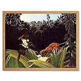Wee Blue Coo LTD Painting Henri Rousseau Eclaireurs Attaques Par Un Tigre Art Print Framed Poster Wall Decor Kunstdruck Poster Wand-Dekor-12X16 Zoll