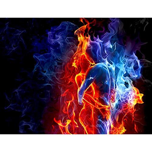 Fototapete Feuer und Eis 396 x 280 cm Vlies Wand Tapete Wohnzimmer Schlafzimmer Büro Flur Dekoration Wandbilder XXL Moderne Wanddeko - 100% MADE IN GERMANY - Blau Rot Runa Tapeten 9048012b -