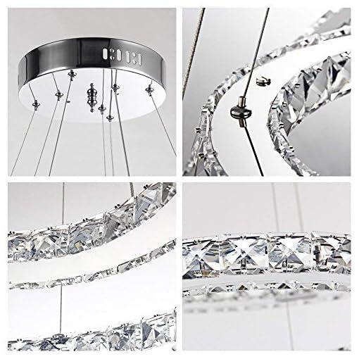 48 W/63 W/72 W/96 W LED cristallo design lampada da soffitto lampadario creativo lampadario a due/tre anelli bianco freddo bianco caldo dimmerabile lampadario 48w Kaltweiß