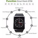 GLOBAL - Smart Watch avec carte SIM entrée maidealz GT08 Bluetooth Smart Watch Fitness Watch with Touch Screen Hands Free Calorie Counter Podomètre Bracelet Smart Tracker Wrist Band for Android Smart Phones: Samsung/Huawei/HTC/Sony/Google Nexus et d'autres,