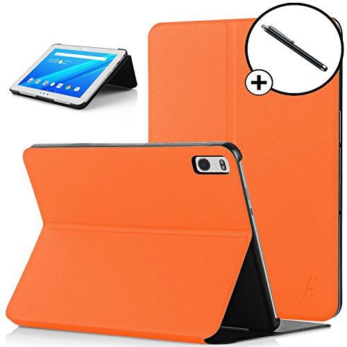 Forefront Cases Lenovo Tab 4 10 Plus/Lenovo Tab4 10 Plus Hülle Schutzhülle Tasche Smart Case Cover Stand - Ultra Dünn Rundum-Geräteschutz - Smart Auto Schlaf Wach + Eingabestift (ORANGE) Orange Case Fan