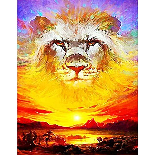 Rowentauk DIY 5D Diamond Painting by Number Kit,Jigsaw Puzzle for Adults Lions Crystal Rhinestone Embroidery Cross Stitch Arts Home Wall Decor Gift to Pregnant Women and Parent
