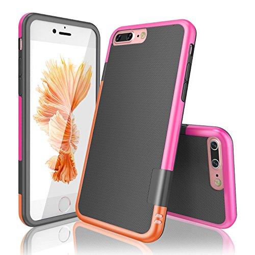 Funda iPhone 7 Plus Han Lucky Stars TPU Funda Carcasa para iPhone 7 Plus, iPhone 7 Plus Funda con [Ultra Fina][Anti-Arañazos][Anti-Choques][Garantía de por vida] (Naranja/Rosa)