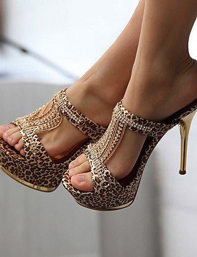 ShangYi Women's Leather Stiletto Heel Heels/Peep Toe/Platform Sandals/Heels Wedding/Party & Evening/Casual Black/Yellow leopard