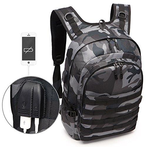 Camo Rucksack, Camouflage Outdoor-Reisen Laptop-Rucksack mit USB-Ladeanschluss & Kopfhörer-Schnittstelle für Männer und Frauen Fit 15,6 Zoll Laptop & Computer -