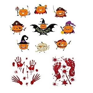 Festa di Halloween Horror Teschio Pipistrello Muro e Finestra Adesivi Decorazione Costume
