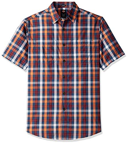 Dickies Herren Yarn Dyed Plaid Short Sleeve Shirt Button Down Hemd, Rinsed Dark Navy Multi, Mittel -