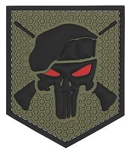 Patch Ecusson 3d Pvc Scratch The Punisher Commando Vert Kza-e-p-993 /444130-5332 Tete De Mort Beret Fusil Entrecroise Airsoft