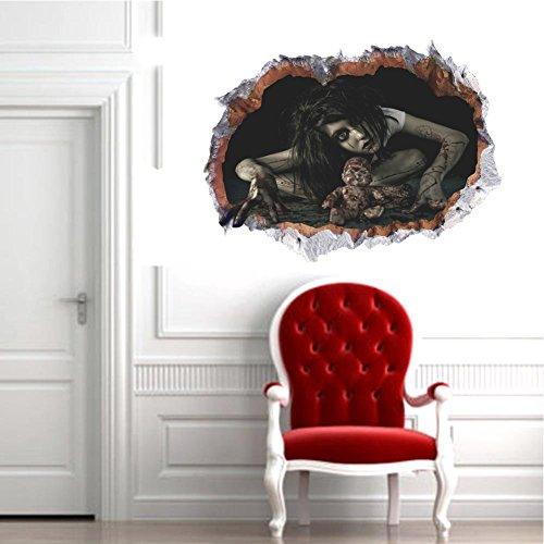 Halloween 3D Horror Ghost Wandaufkleber Abnehmbarer Weiblicher Geist in defekte Wandaufkleber Wasserdichte Haus Kunst Dekor Starke Paste Kinderzimmer Schlafzimmer Wohnzimmer Dekoration (Blut (Halloween Lage Geist)