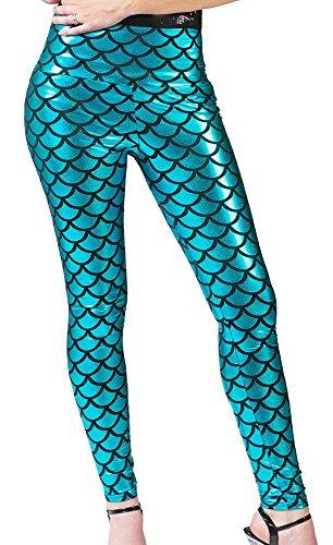 Meerjungfrau Leggings für Damen - Türkis - Glänzende Hose für Karneval, Mottoparty oder ()