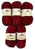 5 x 100 Gramm Babywolle bordeaux rot 80322, 500 Gramm Wolle Super Bulky zum Stricken und Häkeln