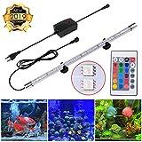OOTOO Aquarium Beleuchtung LED Lampe Tank Licht 52cm Aquariumlampen IP68 mit Fernbedienung siebenfarbig Farbwechsel Aquariumleuchte Unterwasser