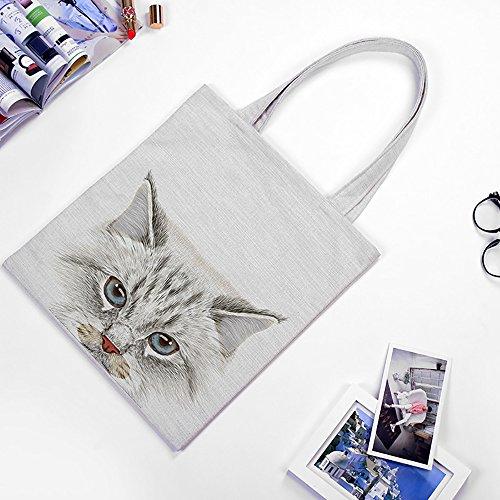 Borsa Shopping Fmedia per Donne con gatto Borsa Shopper per la Spesa Riutilizzabile �?Regalo per Amanti dei Gatti bianca 1