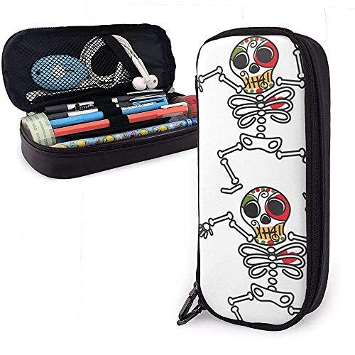Mexikanisches Skelett Dia De Los Muerto Symbol Calavera Niedliche Federmäppchen Lederkapazität Doppelreißverschlüsse Bleistiftbeutel Stifthalter Box -