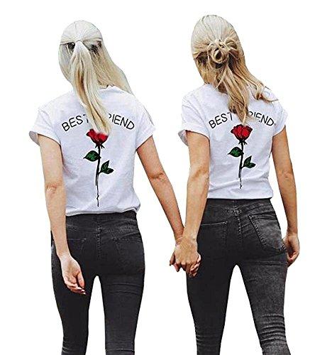 Minetom Mujeres Best Friend Camiseta Manga Corta Impresión Mejor Amiga Blusa Túnica Verano Camisa Divertidas T-Shirt Tops Regalo de Cumpleaños Rojo ES 44