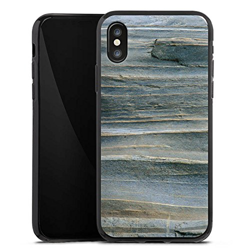 Apple iPhone X Silikon Hülle Case Schutzhülle Grauer Sandstein Fels Stein Silikon Case schwarz