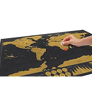 Vinallo Deluxe Travel Edition Scratch Off World Map Poster Personalized Journal Log Gift