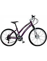 "Bicicleta de montaña MTB mujer Gotty CRS, aluminio 26"", con suspensión de aluminio regulable, cambio de 21 velocidades y frenos de disco. (Violeta)"