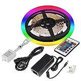 5M RGB LED Strifen Lichtband 300 LEDs, SMD5050 LED Lichtleiste band,DC24V Flexbile LED Srips Light Licht Leiste Incl Fernbedienung und Netzteil für Startseite dekorative Beleuchtung Innenraum