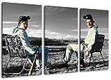 Breaking Bad - schwarz/weiss Motiv mit Farbelementen, 3-teilig auf Leinwand (Gesamtformat: 120x80 cm). Hochwertiger Kunstdruck als Wandbild. Billiger als ein Ölbild! ACHTUNG KEIN Poster oder Plakat!