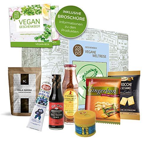 Vegane Weltreise besonderes Geschenkset | Vegane Süßigkeiten tolles Geschenk für Männer Frauen | Vegane Lebensmittel aus aller Welt | vegane Ernährung