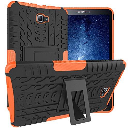 Asstar Samsung Galaxy Tab A 10.1 Hülle, Full Body Kickstand Stoßfeste Hybrid Heavy Duty Schutzhülle Cover für Samsung Galaxy Tab A 10.1 Zoll Tablet SM-T580 T585 2016 Release Black+Oranger