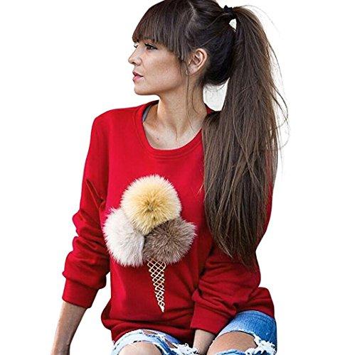 WOCACHI Damen Frauen-Sweatshirt Plüsch-Ball-lange Hülsen-beiläufiges Blusen-Hemd-Pullover Rot (M, Rot)
