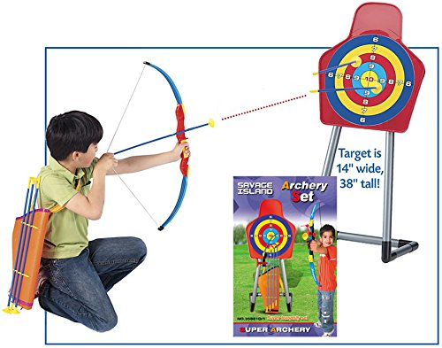 Kids Toy Bow & Arrow & Holder Archery Set with Target Outdoor Garden Fun Game