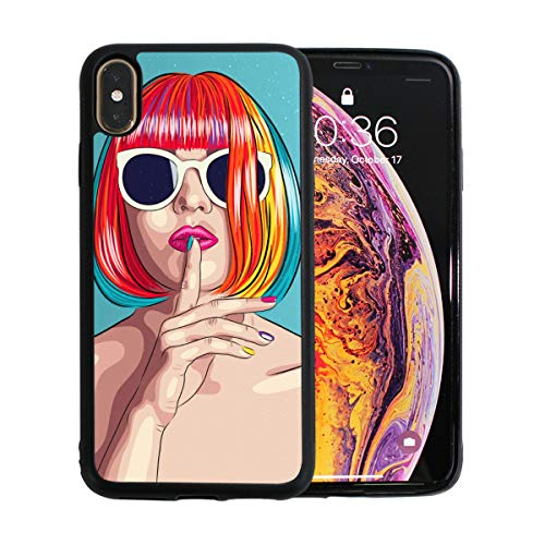 KAOROU Cooles Hip Hop Girl Gestreiftes T-Shirt Hut Sonnenbrillen Apple Phone Xs Max Fall Displayschutzfolie TPU Hard Cover mit dünnem stoßfestem Stoßfänger Schutzhülle für Apple Phone Xs Max 6,5 Zoll