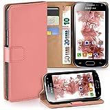 moex Samsung Galaxy Ace 2 | Hülle Korall mit Karten-Fach 360° Book Klapp-Hülle Handytasche Kunst-Leder Handyhülle für Samsung Galaxy Ace 2 Case Flip Cover Schutzhülle Tasche