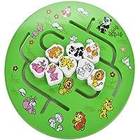 Movimiento de laberinto animal de dibujos animados en busca de juguete en casa Ronda laberinto - Juguete educativo de madera para niños Niños y niñas Juguetes de aprendizaje temprano para niños pequeñ