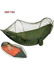 Camping Hängematte mit Zipper Moskito Netze egymcom Multifunktionale Outdoor Pop-Out Camping Hängematte für Einzelperson über 440LB (290*145)