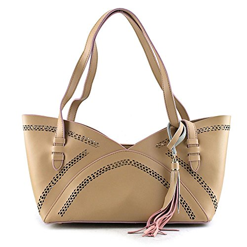 Buco Small Luna Tote Femmes Cuir Sac shopping Taupe-Pink