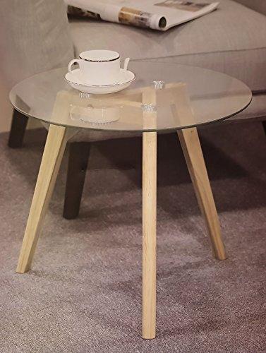 Design Glas Beistelltisch 45 Cm   Glastisch Couchtisch Holz Tisch Sofatisch  Rund