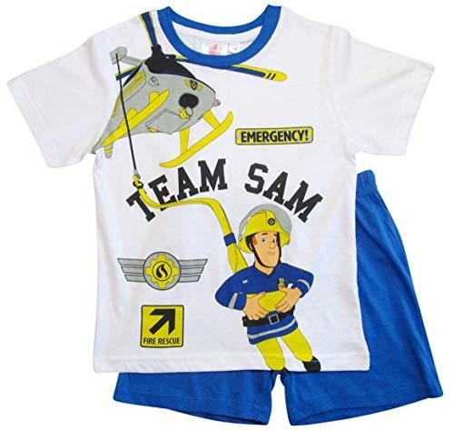 2e1fd1e036 Feuerwehrmann Sam Schlafanzug Shorty Jungen (Blau-Weiß, 98)