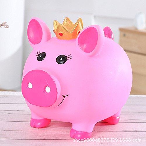 Qsoleil Piggy Bank Anti-Tropfen Sparschwein Sparer Brieftasche Vinyl Sparring Sparschwein (Rosa)