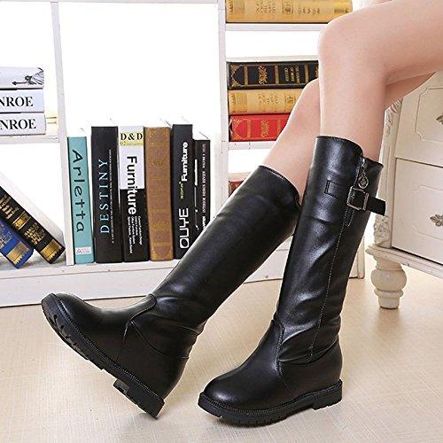 Hsxz Femmes Chaussures Pu Automne Hiver Confort Mode Bottes Null Bottes / Round Toe Mi-mollet Bottes / Pour Casual Noir Marron Noir