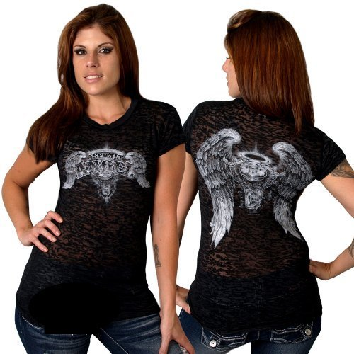 Hot Leathers Asphalt Angel Ladies Burnout Short Sleeve Tee (Black, Small) by Hot Leathers -