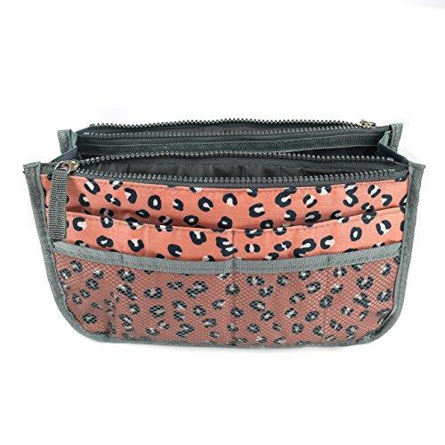 SAVFY Kosmetik Handtasche Reise Organizer Kulturbeutel Kulturtaschen Handtaschenordner leopard (Handtasche Zubehör)