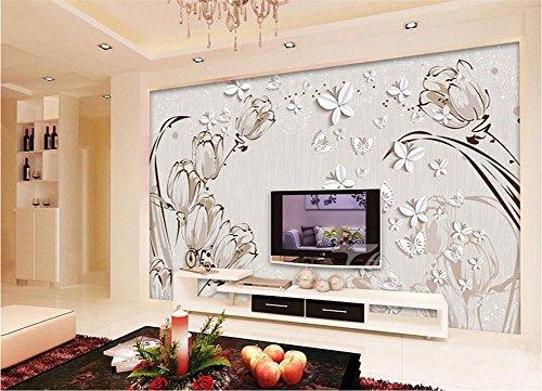 Tapete Grenze Einfügen (MOPP Tapeten Selbstklebende Tapete PVC Moderne einfache 3D Stereo Wandmalerei wasserdichte Tapete Dekoration Schlafzimmer TV Wand Wohnzimmer Tapete - Tulpe)