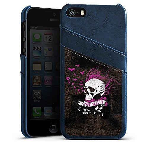 Apple iPhone 5 Housse étui coque protection Tête de mort Noir Rose vif Étui en cuir bleu marine