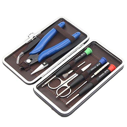 DIY Tool Kit Set für Home und Jewelry Reparaturen, 9in 1Leder case-screwdriver + Aufziehen Coil Jig + Bürste + Edelstahl + Edelstahl Schere Pinzette + Zange (Edelstahl Coil Jig)