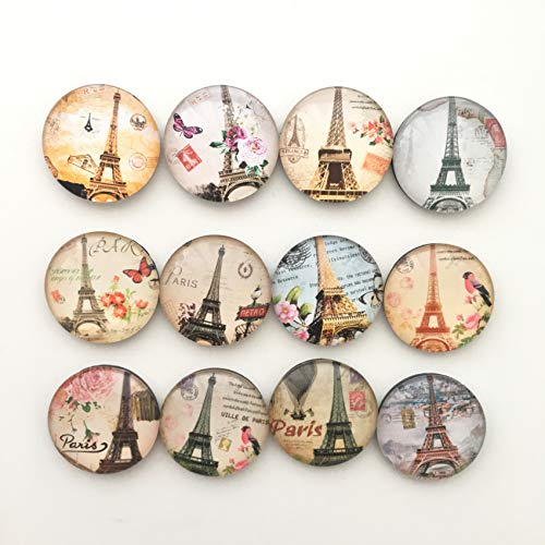 YWEHAPPY 12pcs/los Paris Tower Crystal Glass Fridge Magnet Round Message Sticker France Souvenir Home Decor Kinder Geschenk -