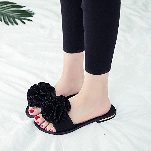 Longra Donna Fiore Decorare Pantofole Nero