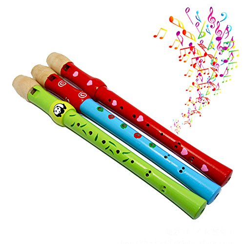 Bluester Musical Toys,Colorful Wooden Flute Toy Trumpet Buglet Hooter Bugle Educational Toy Gift For Kids ( random color )