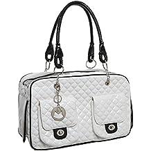 MG Collection Bolsa blanca acolchada de piel sintética para perro ...