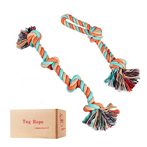 L.S Seil Hundespielzeug Kauspielzeug Interaktive Tug Seil (Mittelgroße, Große) (2er Packung)